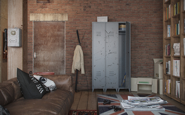 Man Cave With Brick Wall : Industrial wardrobe and exposed brick wall