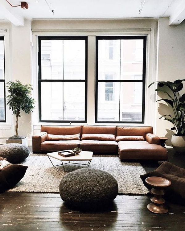 Masculine-industrial-living-room-with-brown-colors