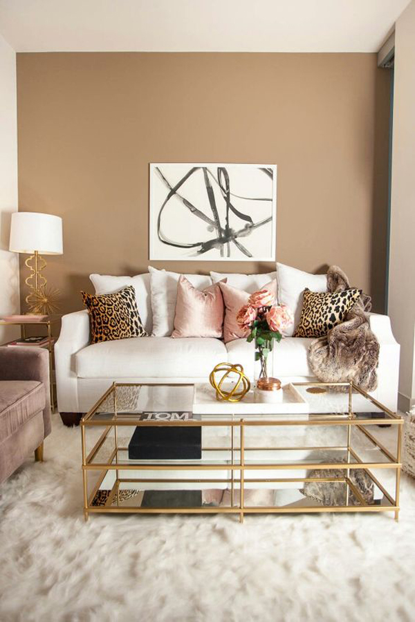 Modern Coffee Table With Gold Accents