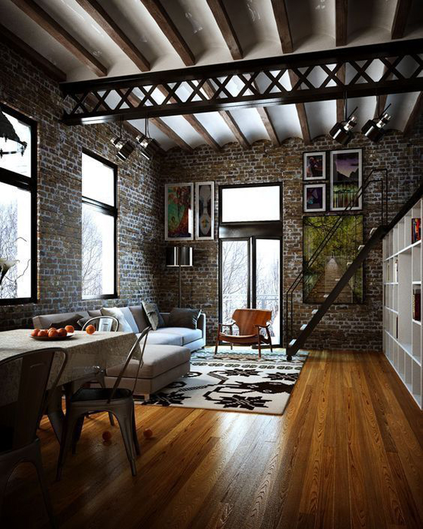 22 Modern Living Room Ideas With Industrial Style | Home Design ...