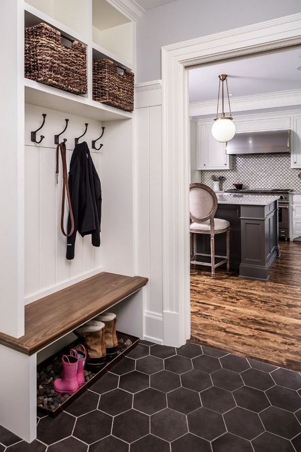 Mudroom With Cooper Hanger And Boot Tray Rocks For Draining
