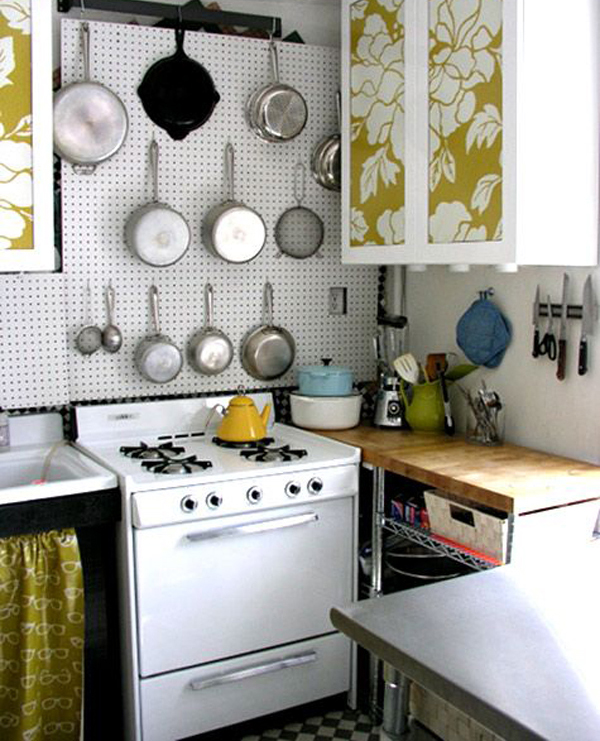 over-kitchen-pegboard-with-mural-decor | Home Design And ...