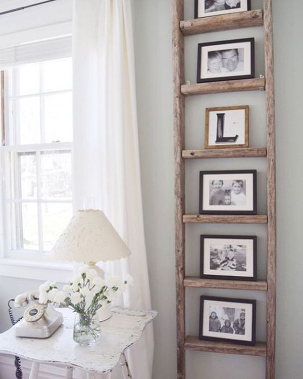 25 Easy Ways To Repurpose Ladder With Rustic Touches
