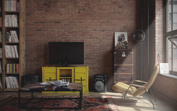 Man Cave With Brick Wall : Tv stand area with exposed brick wall