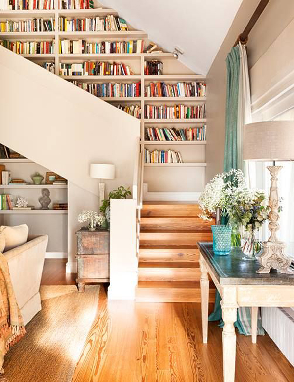 22 Cool Ways To Fill Your Stairs With Bookshelves | Home Design .