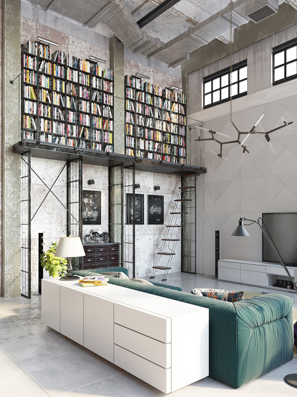 Home Library Loft: Impressive Industrial Lofts In Budapest