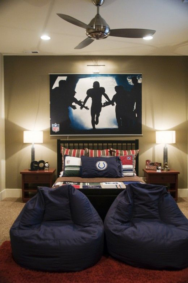nfl boys room theme with big screen tv home design and interior rh homemydesign com