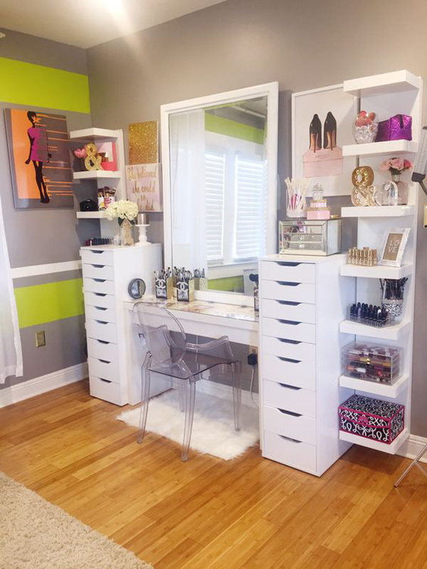 20 modern diy makeup organizers with romantic feel home. Black Bedroom Furniture Sets. Home Design Ideas