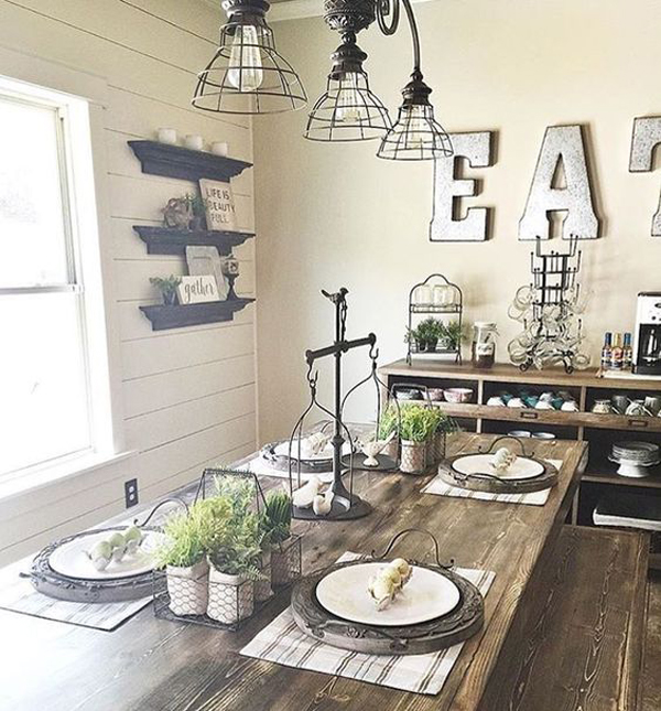 Dining Room Centerpieces: 25 Calmness Dining Room With Farmhouse Style And Vintage