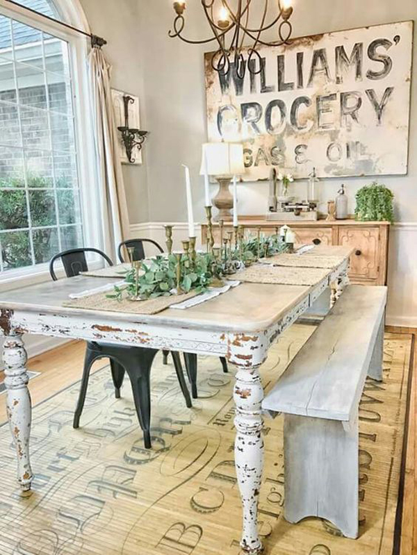 25 calmness dining room with farmhouse style and vintage - Cheap dining room decorating ideas ...