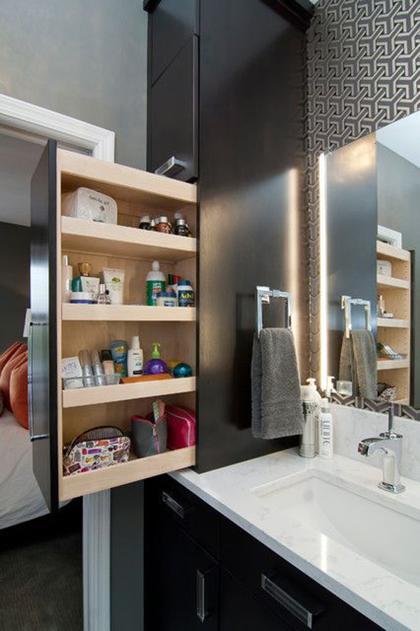 35 smart diy storage ideas for tiny bathroom home design for Hidden bathroom pics