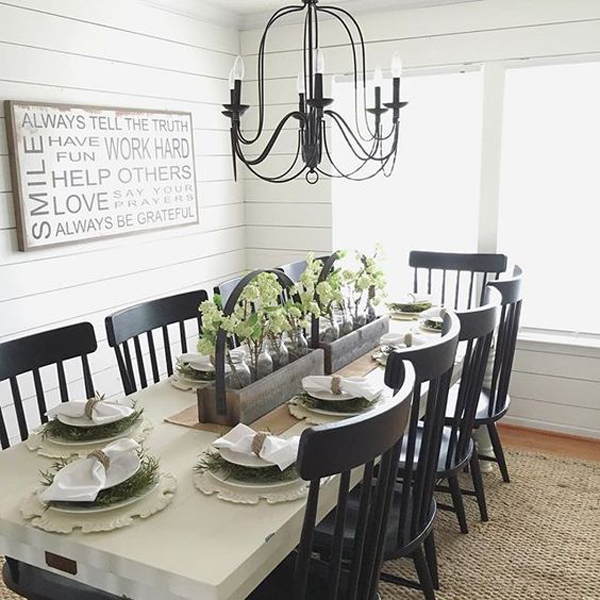Simply Farmhouse Dining Room With Black Furniture Home Design And
