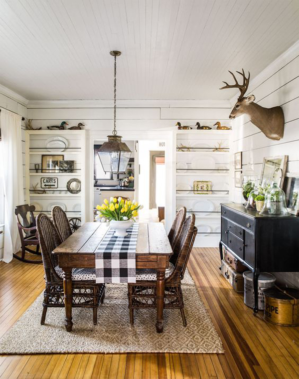 25 Calmness Dining Room With Farmhouse Style And Vintage ... on Dining Room Curtains Farmhouse  id=91631