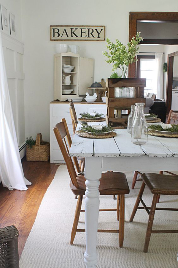 25 Calmness Dining Room With Farmhouse Style And Vintage  : white farmhouse dining area ideas from homemydesign.com size 600 x 900 jpeg 360kB
