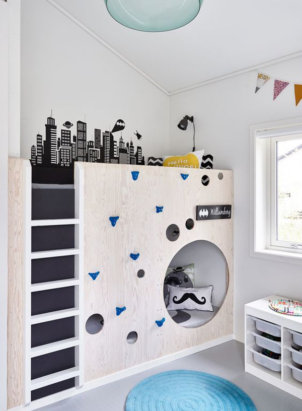 25 fun climbing wall ideas for your kids safety home for Chambre 9m2 ikea