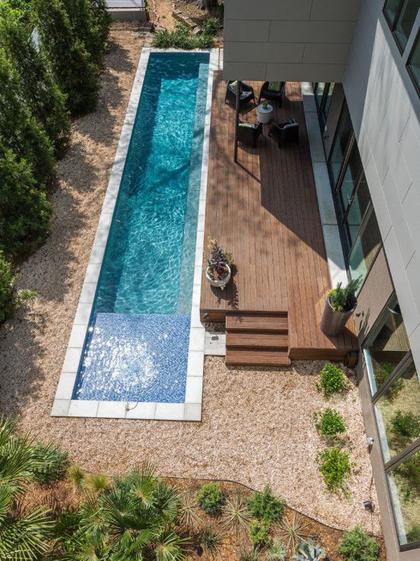 Choosing The Right Outdoor Furniture Such As A Few Sun Loungers And Dining  Table Will Be Very Helpful, Your Narrow Pool Will Look More Inviting.