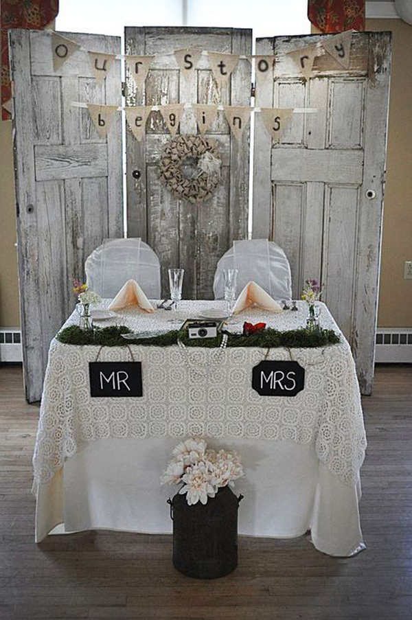 Country Vintage Wedding Table With Old Door Backdrop