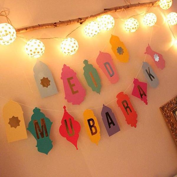 20 Wonderful Eid Mubarak Ideas: Eid-mubarak-banner-lighting-decor