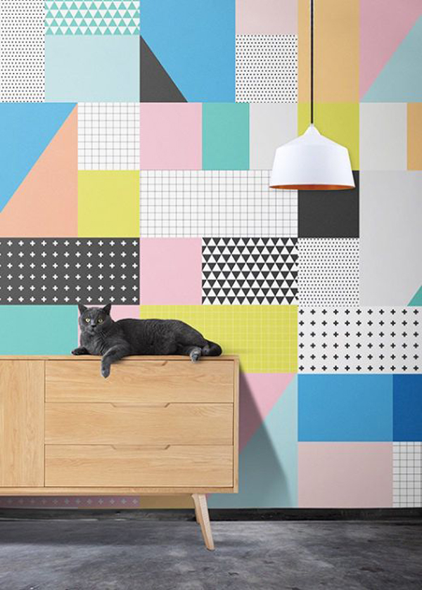 20 awesome geometric walls with vibrant colors home for Graphic design interior design