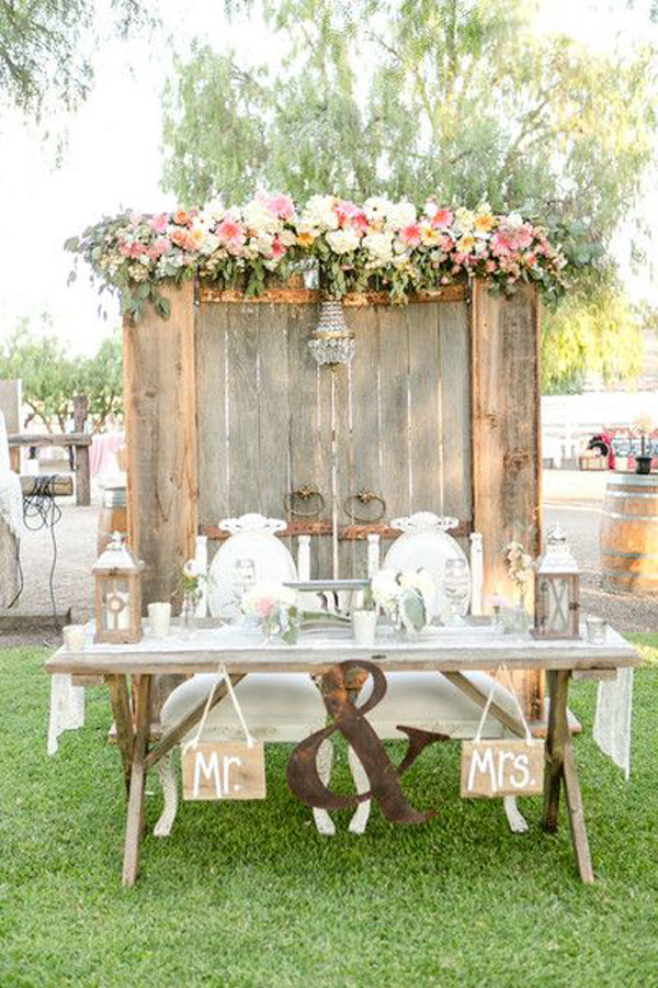 Vintage rustic wedding table decoration junglespirit