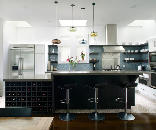 Cool Black Kitchen With Wine Rack Ideas Home Design And Interior
