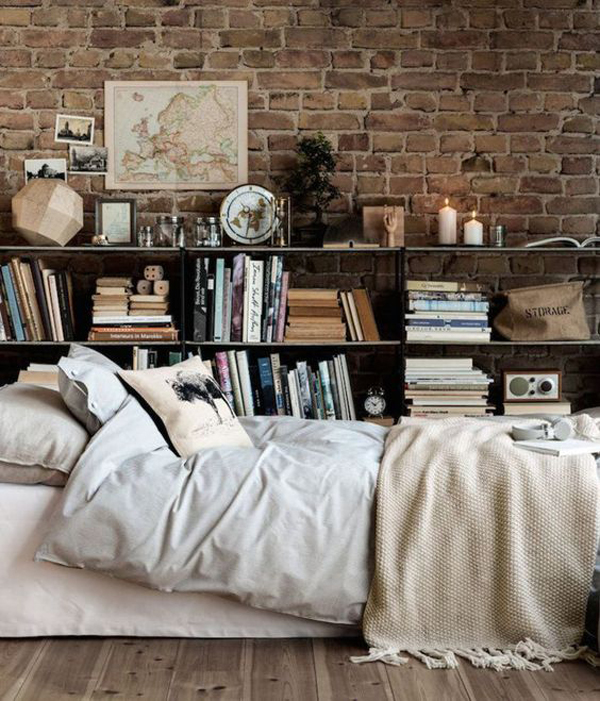 Bedroom Library With Exposed Brick Wall Homemydesign