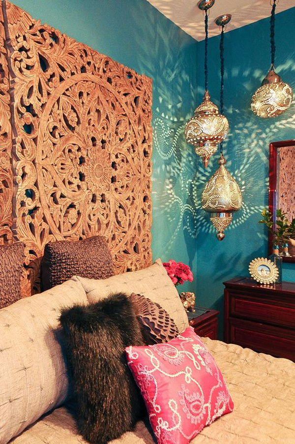 Moroccan Bedroom With Lantern And Ethnic Headboard