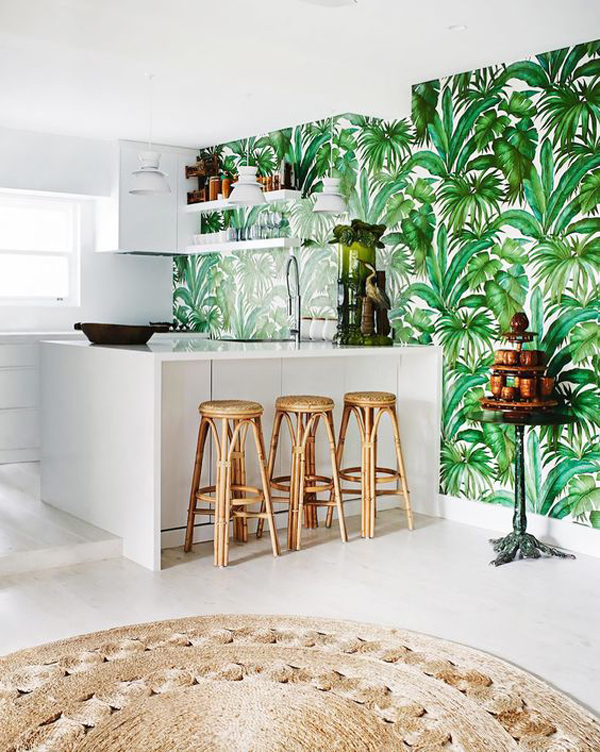 tropical kitchen wallpaper ideas