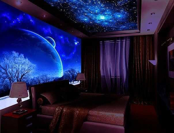 Cozy Night Bedroom With Galaxy Themes