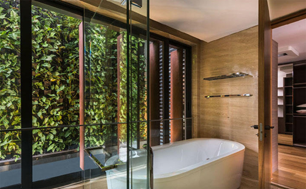 Cozy Spa With Green Wall In Bathroom