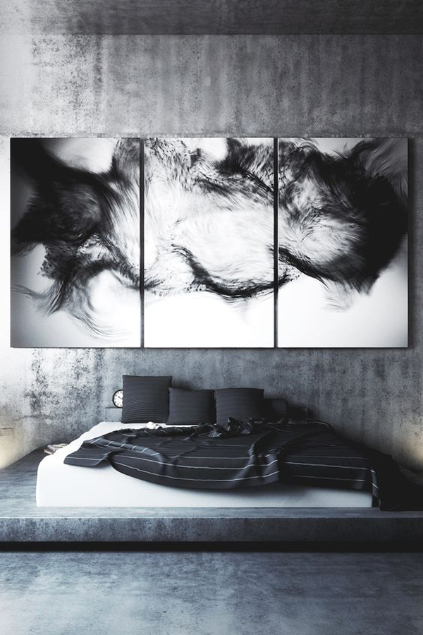 dark-masculine-bedroom-with-wall-art-ideas | Home Design And ...