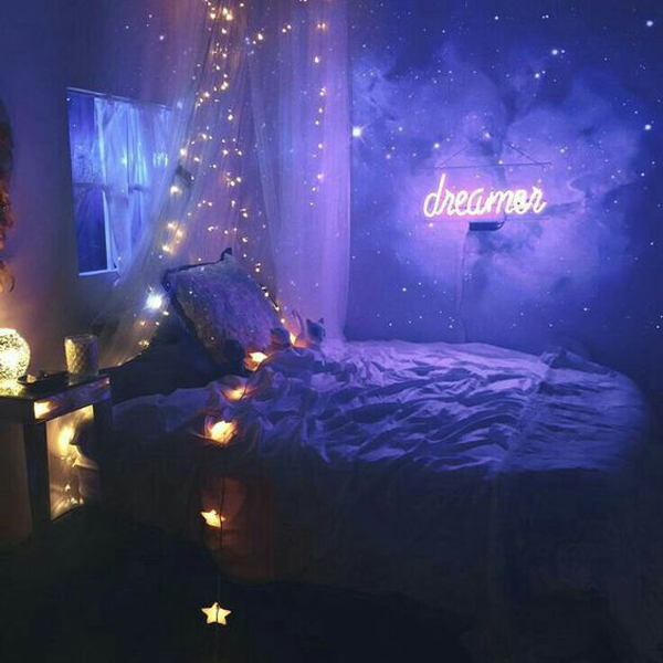 10 cozy and dreamy bedroom with galaxy themes home for Room decor neon signs