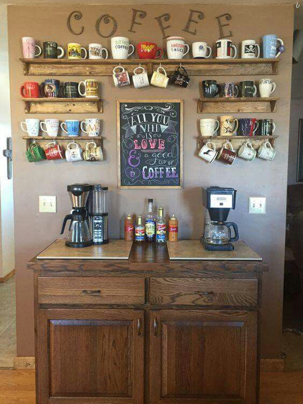 25 diy coffee station ideas you need to copy home design for Coffee bar ideas for office