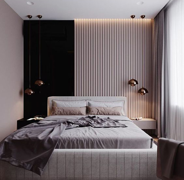 Black And Wooden Slats Accent Wall For Bedroom Ideas