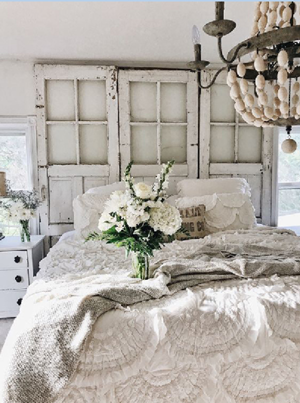 . country farmhouse bedroom style with recycled old windows