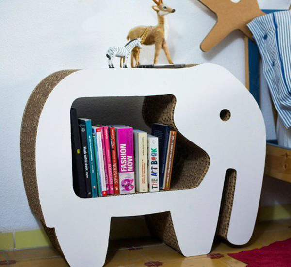 Elephant Cardboard Bookshelves Design Home Design And Interior - Cardboard-bookshelves