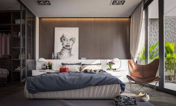 Modern Wooden Slats Accent Wall For Bedroom Decor