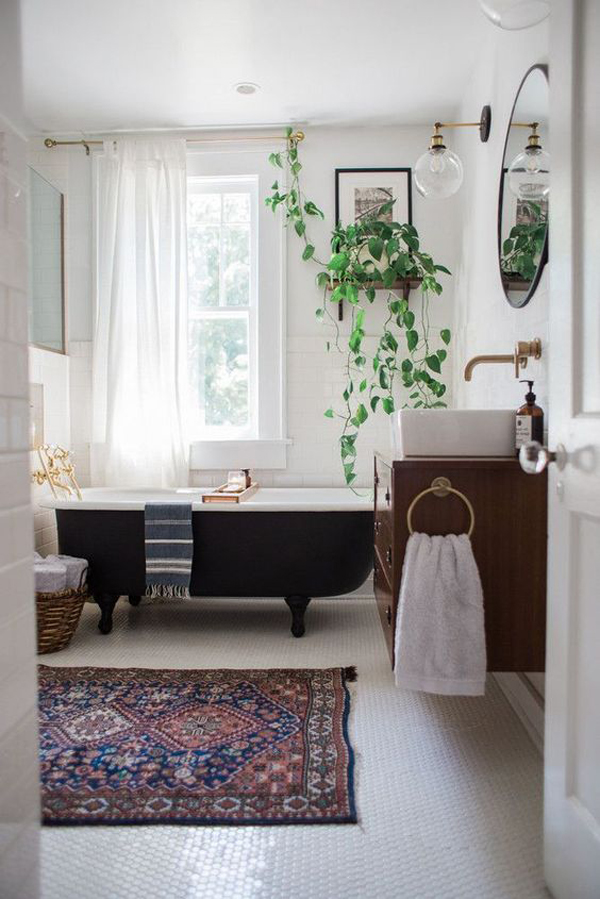 20 chic and minimalist boho bathroom design ideas home for Bathroom decor rugs