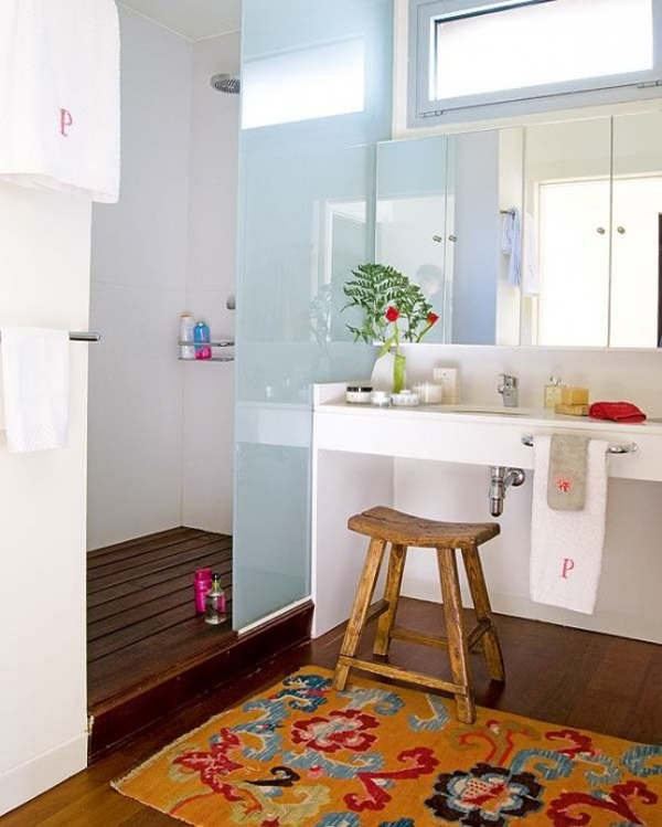 Minimalist Colorful Rug Designs: 20 Chic And Minimalist Boho Bathroom Design Ideas