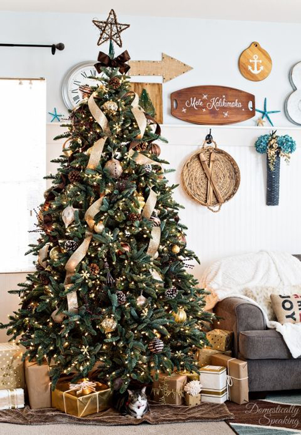 rustic christmas tree ideas 20 luxury gold trees decor for sparkling 30227