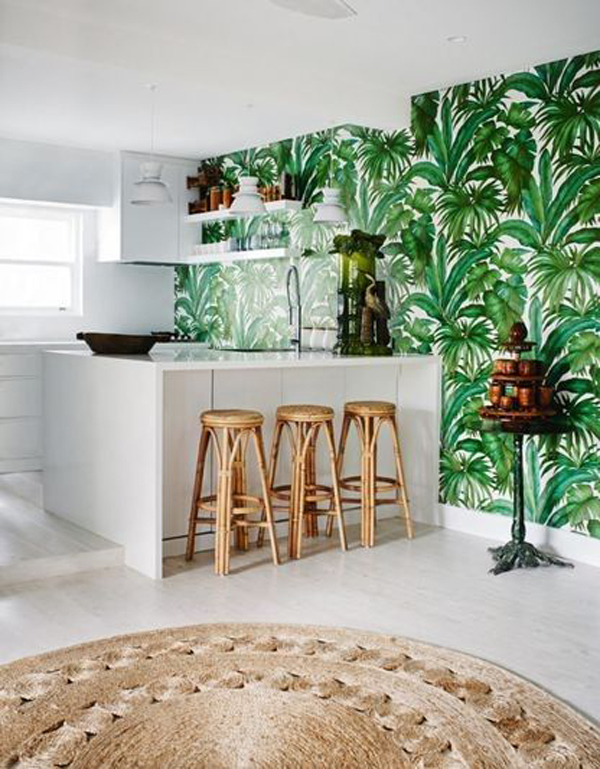 Tropical Kitchen Island With Forest Wallpaper Home Design And Interior
