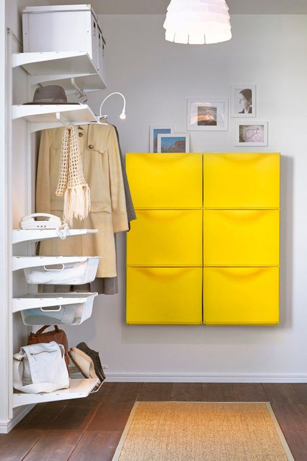 Yellow Ikea Trones Cabinet In Hallway Organization