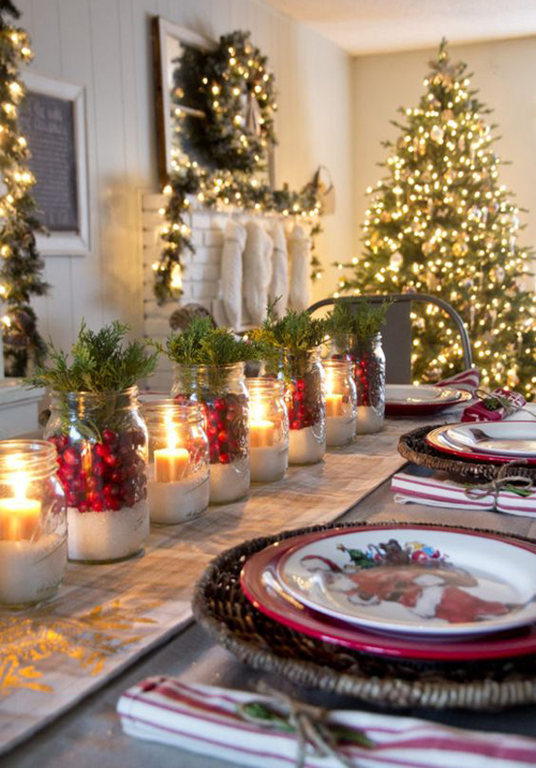 front of the christmas table surrounded by many traditional elements that remind you of the past while the decoration of evergreen pinecones leaves