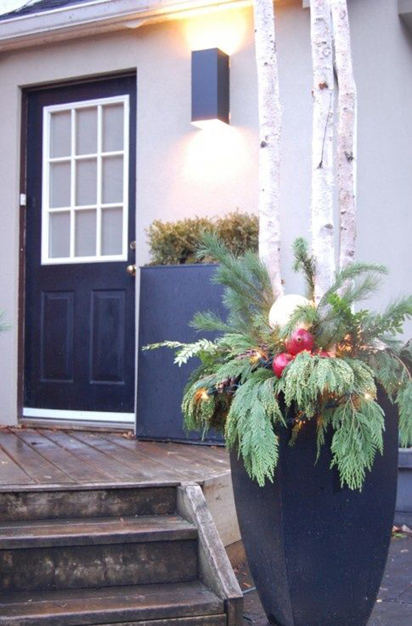 Outdoor Christmas Plants With Lighting Decor