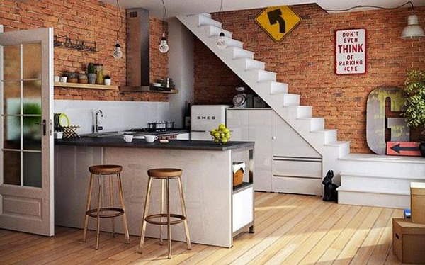 Brick kitchen ideas in under stairs for Kitchen designs under stairs