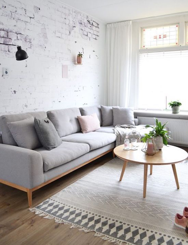 Groovy Grey Scandinavian Living Area With Exposed Brick Home Beatyapartments Chair Design Images Beatyapartmentscom