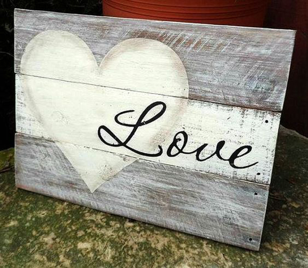 Love Pallet Wooden Sign For Valentine Day