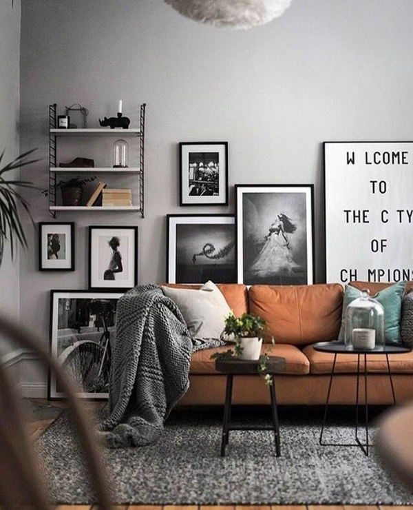 Scandinavian Interior Apartment With Mix Of Gray Tones: Mid-century-living-room-with-scandinavian-vibe