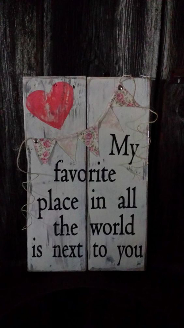 Reclaimed Wood Valentine Signs