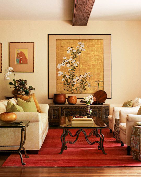Red And Gold Asian Living Room Design Home Interior